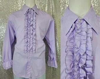 70s vintage pastel lilac purple ruffle front Tuxedo shirt by Delton size 2XL XXL - dumb and dumber retro disco vtg pride lgbtq gay wedding