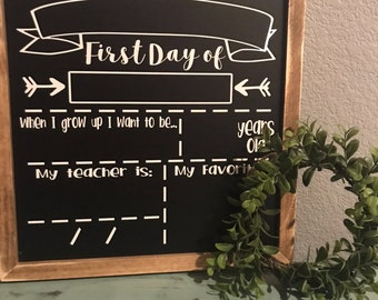 First & Last Day of School Reversible Chalkboard Sign - Stained Frame*