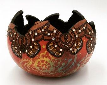 Mehndi-Inspired Gourd Butterfly Bowl