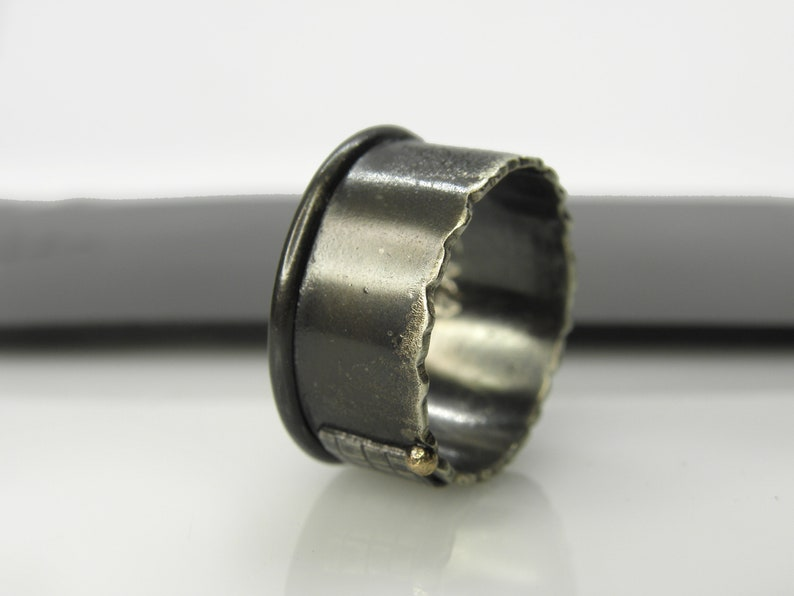 Silver ring with 14 K yellow gold ball unisex wide band organic men spinner ring oxidized industrial