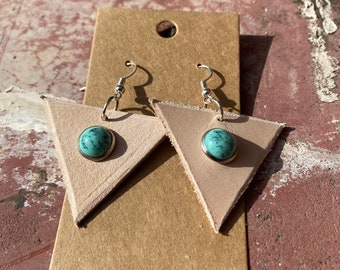 Brass earrings silver oxidized small balls triangle rivets pointed