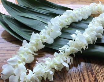 Paper flower lei etsy single orchid lei white mightylinksfo