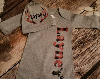 Personalized onsie with deer antlers and plaid customized