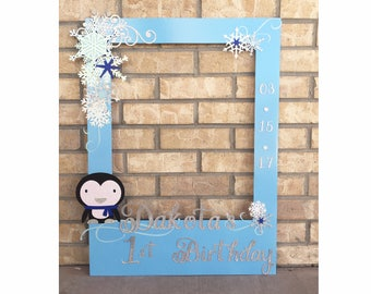 Winter Onederland Birthday photo frame booth birthday party picture frame or photo prop decoration Snowmen Penguin Birthday Winter Birthday