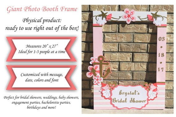 Nautical Photo Booth Prop With Anchor Sea Shells And Custom Etsy