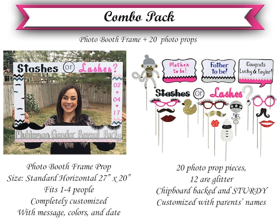 Stashes or Lashes photo booth Custom COMBO PACK Giant photo   Etsy