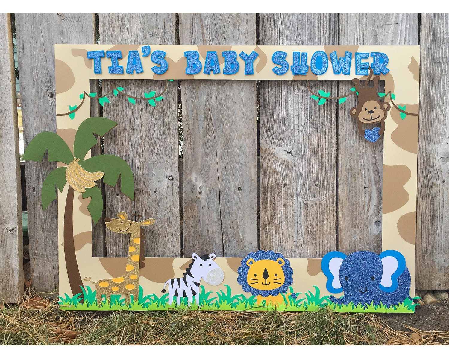 Giant Photo Booth Frame Safari Themed Baby Shower Customized Etsy