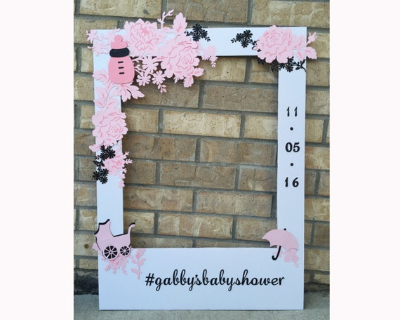Baby Shower Giant Photo Booth Frame Prop Floral With Glitter Etsy