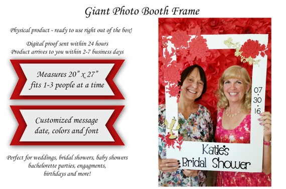 Red Amd Gold Photo Booth Giant Frame Prop Wooden Picture Etsy
