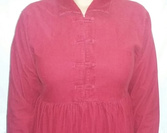 Vintage 90's red corduroy dress long sleeve red dress winter dress Women's Clothing Size 8