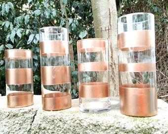 "Rose Gold, Cylinder Vase, Set of 4, Wedding, Centerpiece, Table Decor, Home Decor, Spray Paint, Flower Vase, Candle Vase, 7.5"" and 9"""