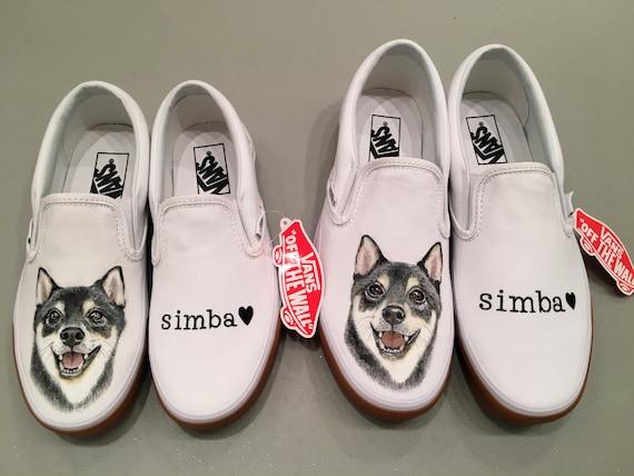 Custom Pet Portrait Hand Painted Vans Shoes : Dog portrait, special gift, couple shoes, couple gift, honeymoon fashion