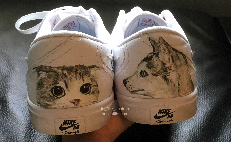 0cd107b32435 Pet Portrait Hand Painted Custom Nike Shoes   Dog portrait and