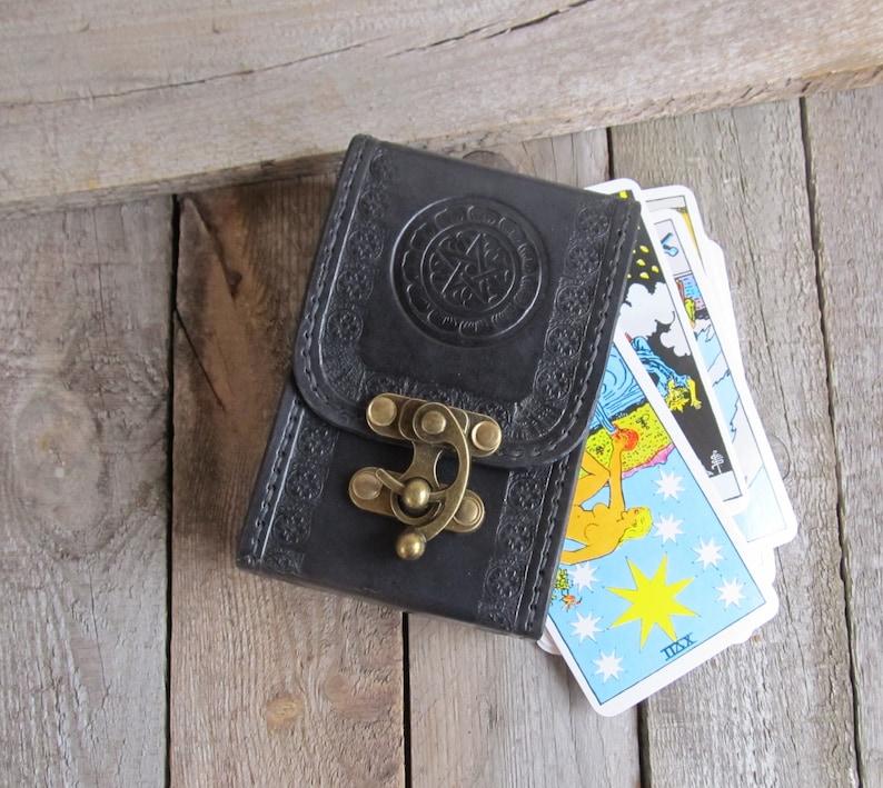 Pentacles coin Black Tarot leather Deck box Tarot bag Original Rider Waite  Tarot leather case Tarot Card holder Leather bag Tarot card deck