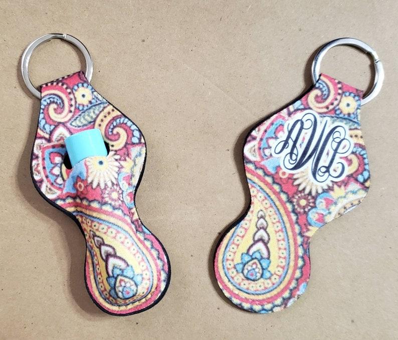 Personalized Lip Balm Chap Lip Girly Key Ring Monogram Paisley Chapstick Key Chain Initials cute