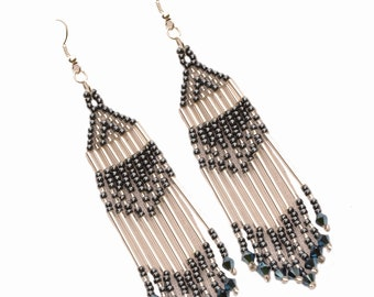Earrings seed beads hematites and silver