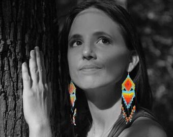 Beaded native rainbow earrings