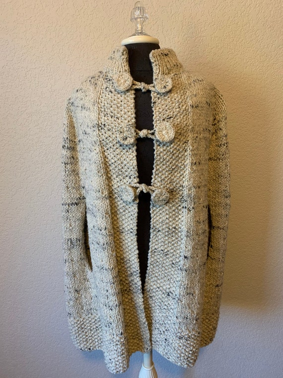 Vintage Hand Knit Cape - Marled Cream & Gray Wool