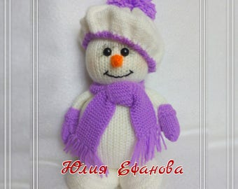 snowman white knitted snowman new year Christmas gift knitting