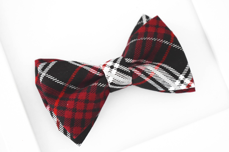 Boys Red Plaid Tartan Clip On Cotton Bow Tie Bowtie
