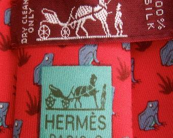 c6c6463a2321 HERMES Paris Whimsical Frog Print Silk Necktie in Hermes Box