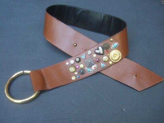 NEIMAN MARCUS Italian Jeweled Caramel Brown Leath… - image 2