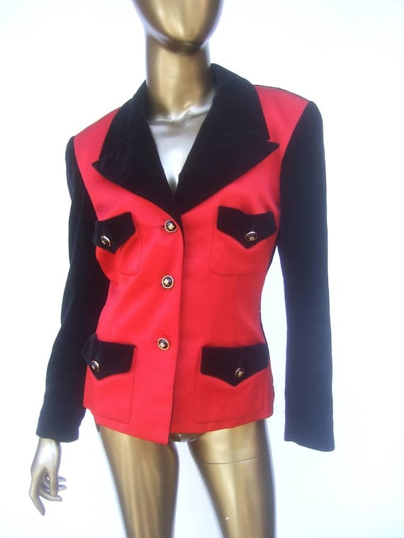 Chanel Scarlet Silk and Velvet Jacket. Mid 90's P… - image 2