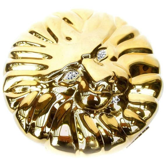 Sleek Gilt Metal Lion Face Evening Bag. 1980's.