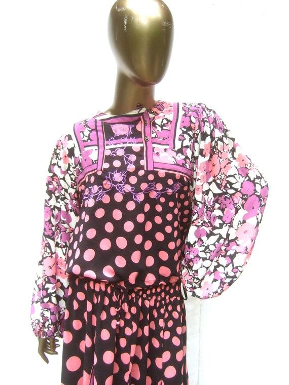 DIANE FRES Vibrant Floral Polka Dot Print Blouse &