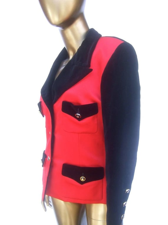 Chanel Scarlet Silk and Velvet Jacket. Mid 90's P… - image 5