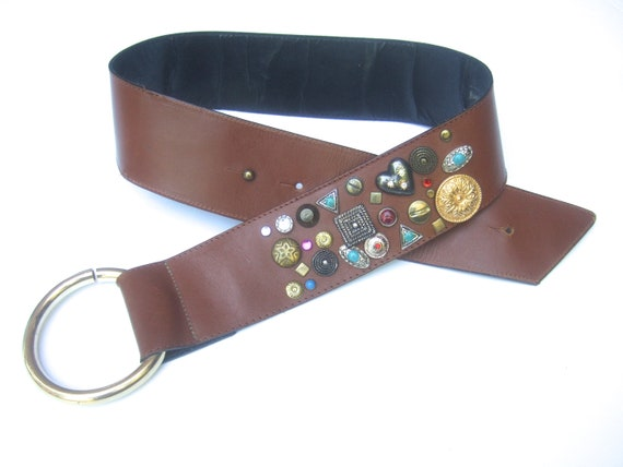NEIMAN MARCUS Italian Jeweled Caramel Brown Leath… - image 9