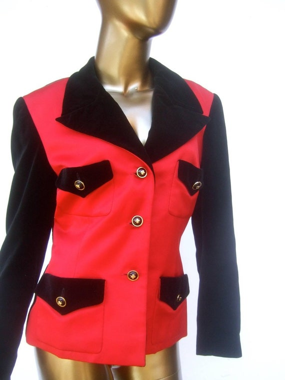 Chanel Scarlet Silk and Velvet Jacket. Mid 90's P… - image 3