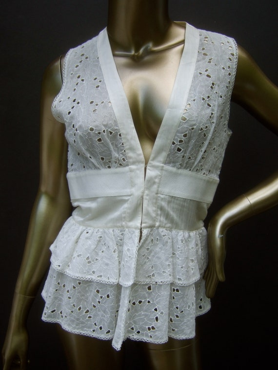 LA PERLA Italian White Cotton Sheer Eyelet Silk Tr