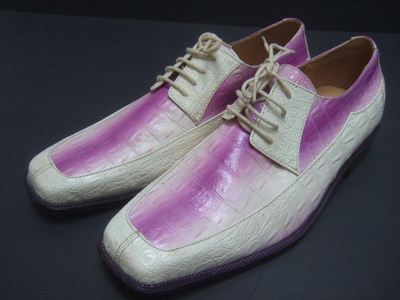 Mens Unique Embossed Vinyl Dress Shoes US Size 11