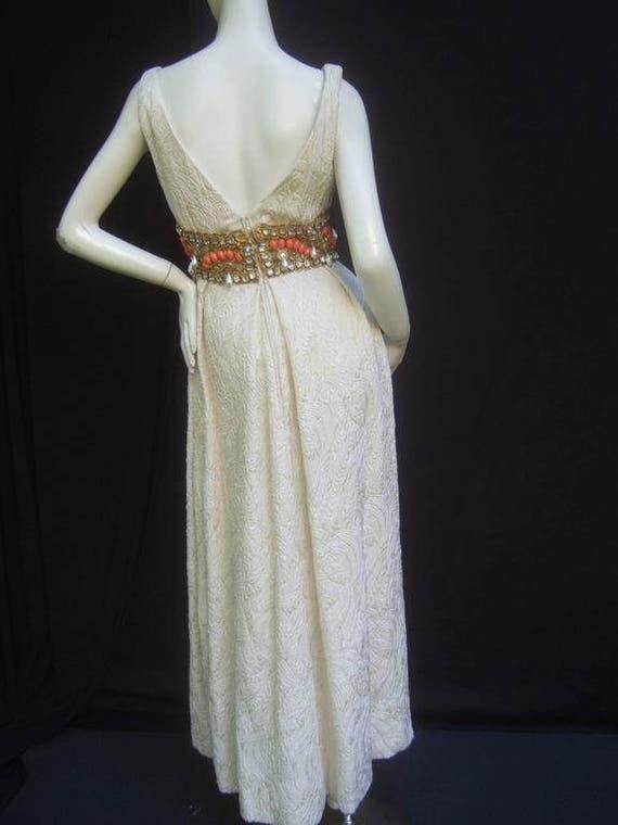 Ceil Chapman Stunning Ivory Brocade Jeweled Empir… - image 2