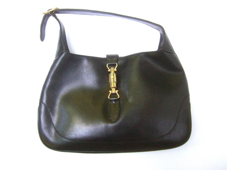 b53b4f2adcbb GUCCI Iconic Ebony Leather Jackie O Versatile Handbag
