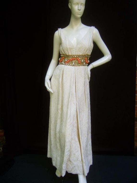 Ceil Chapman Stunning Ivory Brocade Jeweled Empir… - image 4
