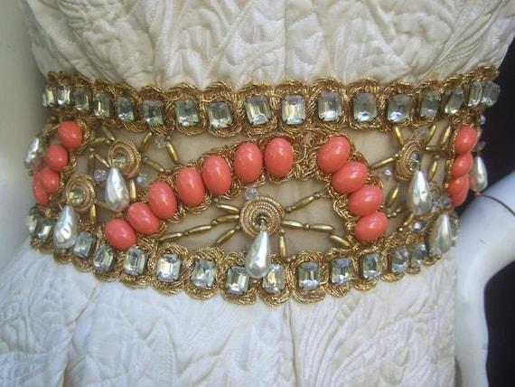 Ceil Chapman Stunning Ivory Brocade Jeweled Empir… - image 3