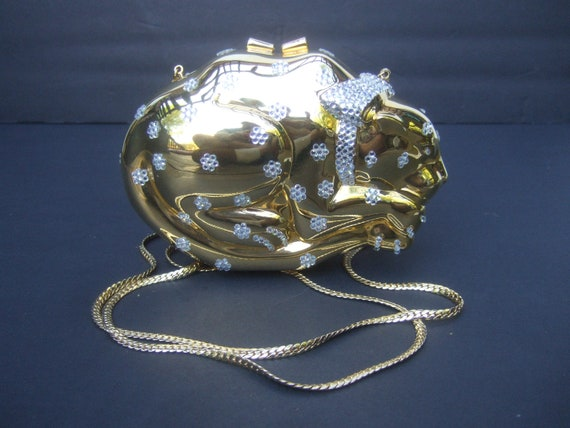 Opulent Gilt Metal Crystal Encrusted Feline-Cat Mi
