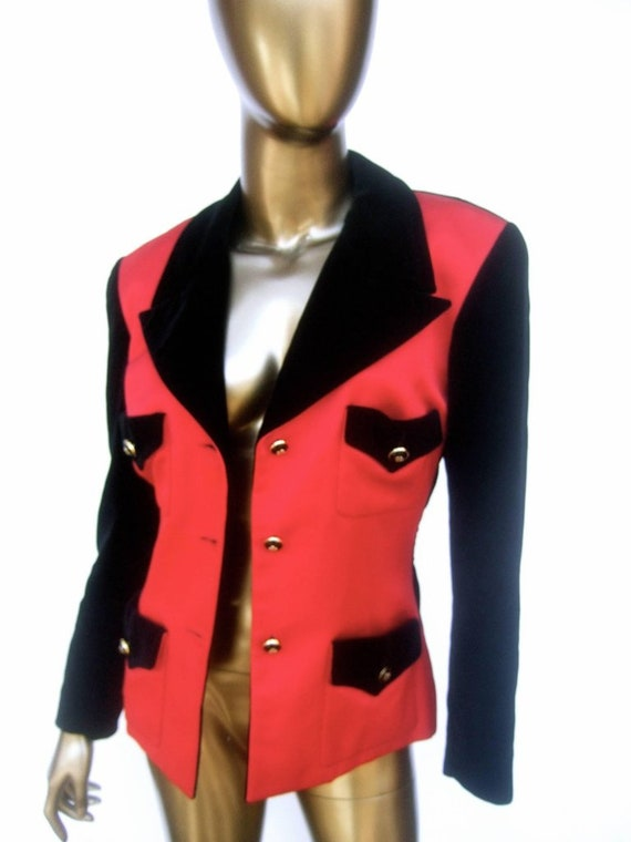 Chanel Scarlet Silk and Velvet Jacket. Mid 90's P… - image 4