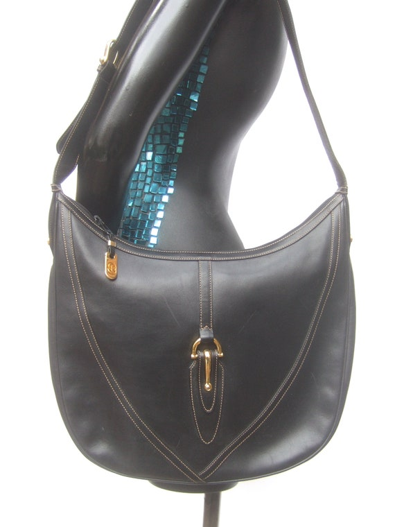 GUCCI Italian Ebony Leather Shoulder Bag c 1970s - image 4
