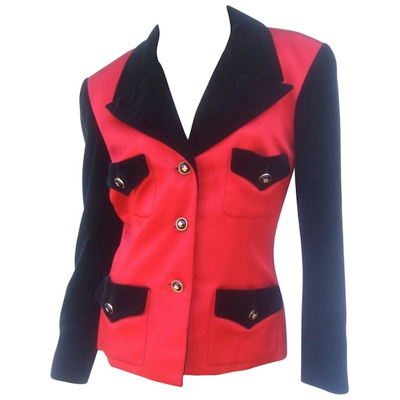Chanel Scarlet Silk and Velvet Jacket. Mid 90's P… - image 1