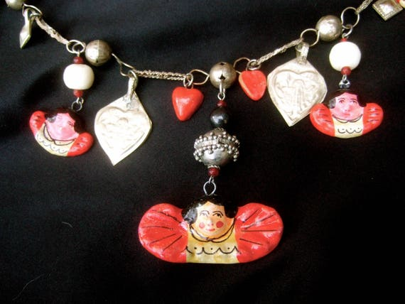 Romantic Mexican Dangling Charm Artisan Necklace c