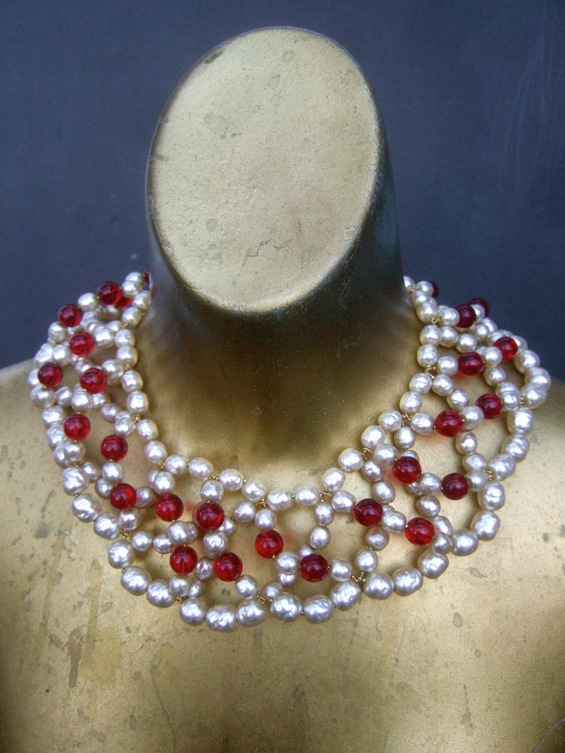 1224e516e1239 Miriam Haskell Exquisite Glass Pearl   Ruby Glass Beaded Bib