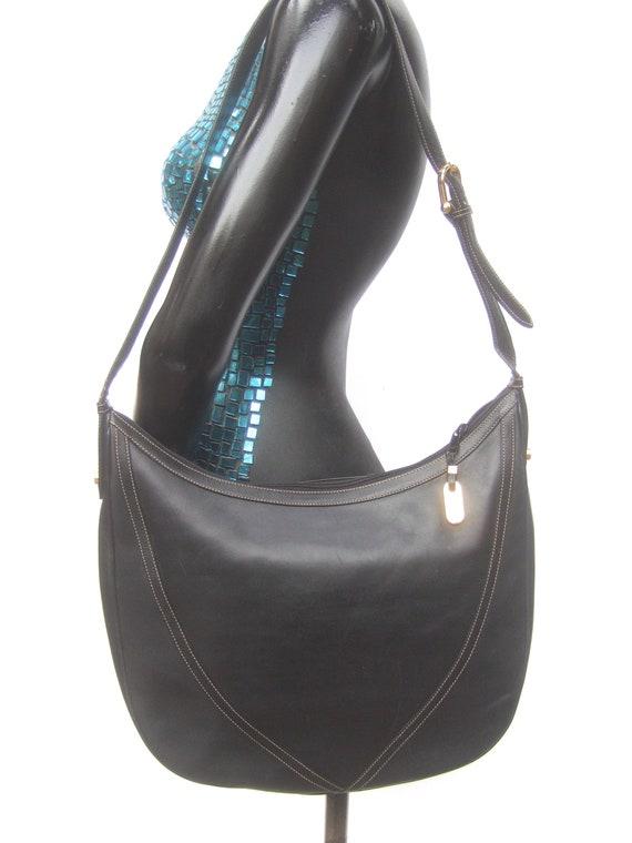 GUCCI Italian Ebony Leather Shoulder Bag c 1970s - image 9