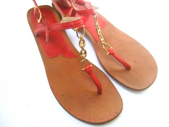GUCCI Italie cuir rouge chaîne Strap sandales taille 36   Etsy 344257bf81d