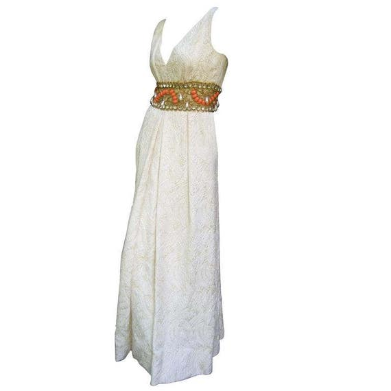 Ceil Chapman Stunning Ivory Brocade Jeweled Empire