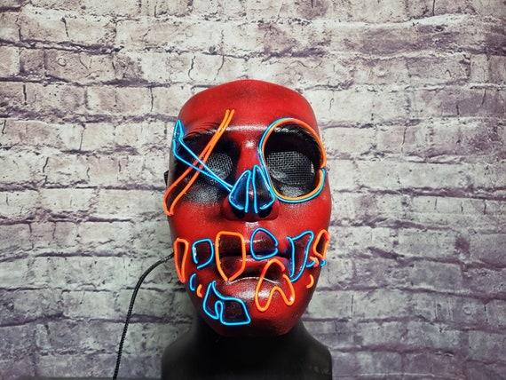 XO SKULL ~ LED Light Up Mask,El Wire,Painted,Purge Mask,Rave Mask,Glow,anarchy,Neon,Handmade,Festival,Halloween,Skeleton,Horror,Scary Mask