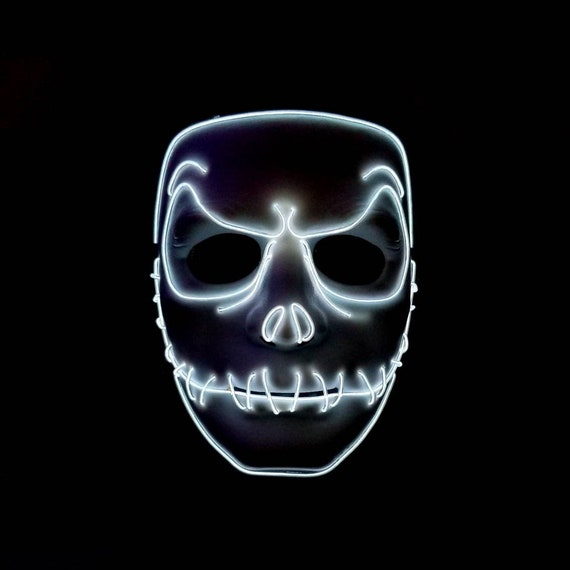 Jack Skellington ORANGE Rave Festival Halloween Costume Handmade Light Up MASK!