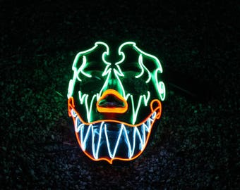 SCARY CLOWN ~ LED Light Up Mask,El Wire,Juggalo,Clown Mask,Purge Mask,Rave Mask,Neon,Tribal,Joker,Festival,Halloween Mask,Scary,Burning Man